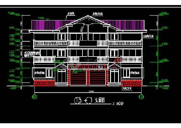 某小区三层双拼别墅施工图ACAD图纸-图3