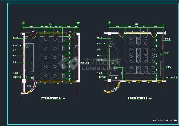 某小学教学楼各教室平面布置CAD图(内含4张)-图1