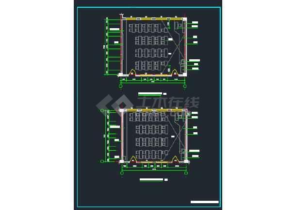 某小学教学楼各教室平面布置CAD图(内含4张)-图2