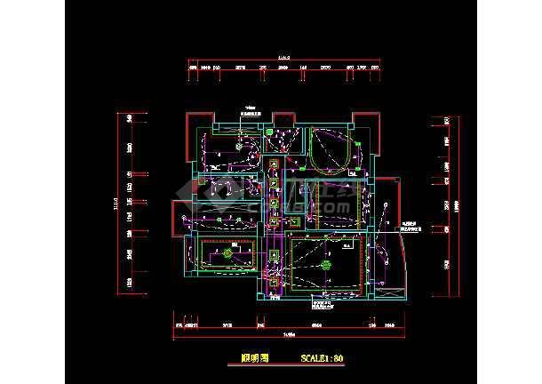 某市某小区家装电路图设计cad图纸