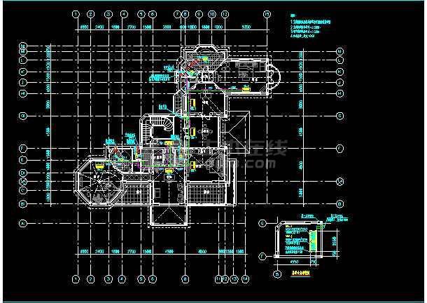 某度假村二层住宅楼暖通空调cad施工方案设计图-图2