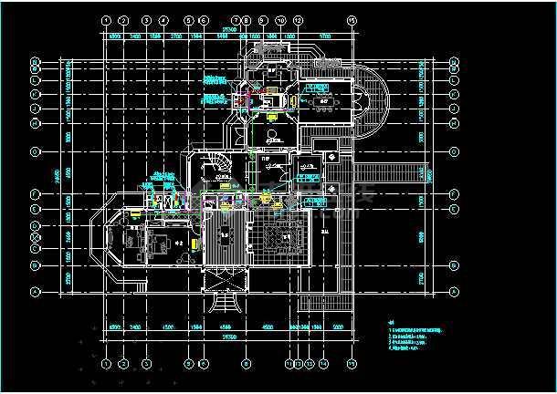 某度假村二层住宅楼暖通空调cad施工方案设计图-图3