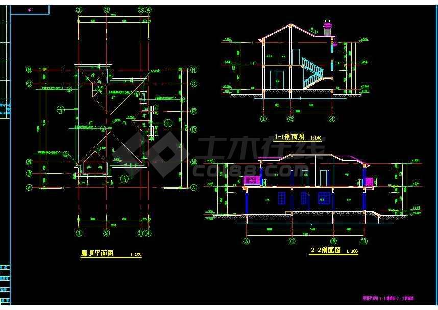 某地大型北美风格二层别墅建筑设计图-图2