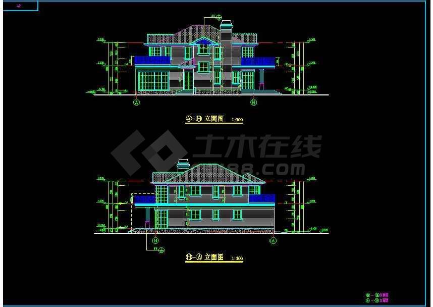 某地大型北美风格二层别墅建筑设计图-图3