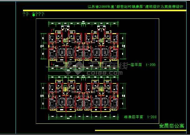 四层公寓设计cad图纸(标注详细)-图1