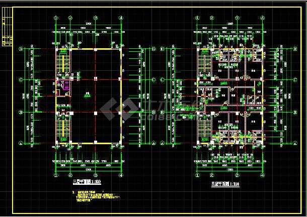 某地四层乡镇私宅建筑cad施工图(共4张)-图2