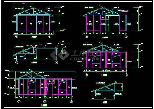 轻钢结构装配式房屋结构cad施工图