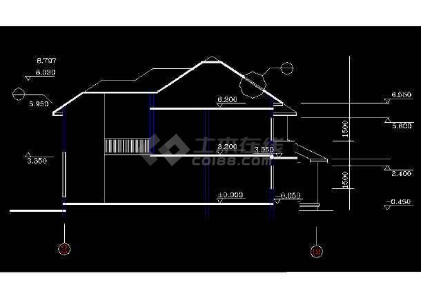 某地精美二层独栋别墅建筑结构图纸(共10张)-图3