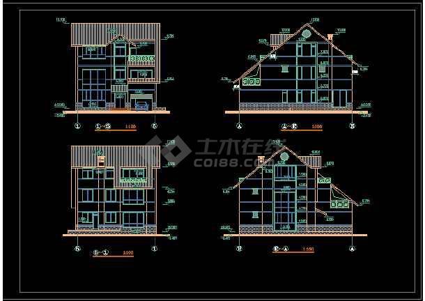 一套经典三层别墅建筑结构图纸(共8张)-图1