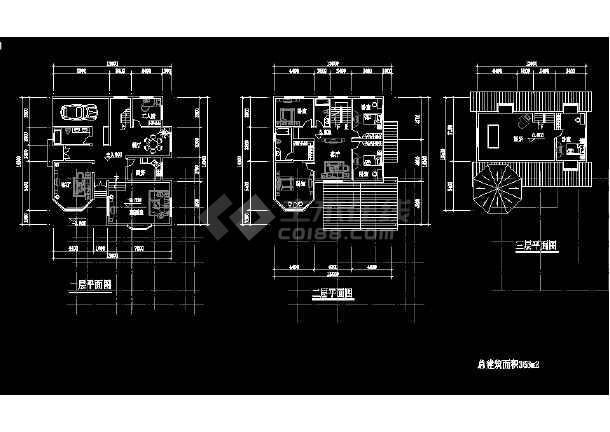 某地小型别墅建筑结构图纸(共6张)-图1