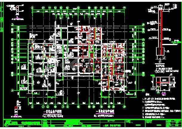 某合院别墅建筑CAD施工设计南北入口图纸-图3