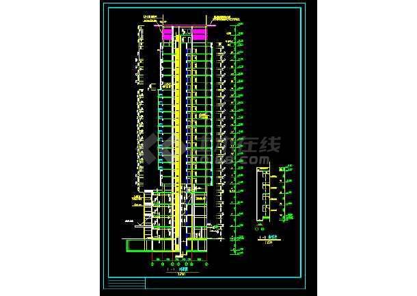 某地方陈家庄商住楼施工图CAD图纸-图2