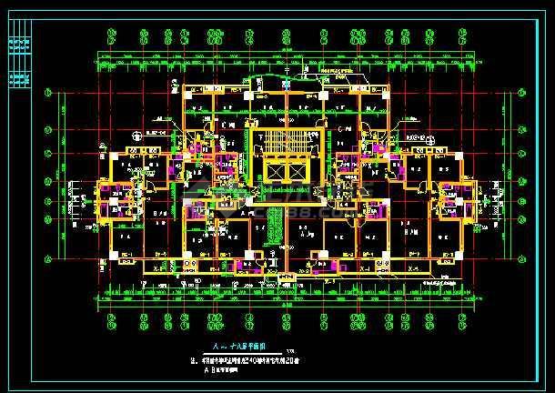 某地方陈家庄商住楼施工图CAD图纸-图3