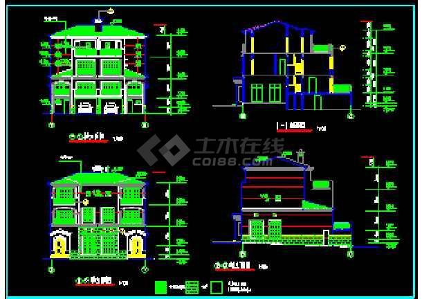 某小区高档双拼别墅建筑CAD设计施工图纸-图1