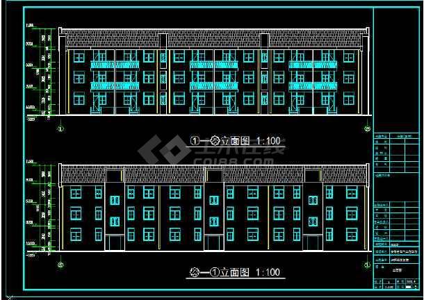 安徽省电气工程学校3层恢复楼cad图纸-图1