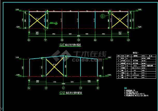 某工业项目钢结构餐厅结构图