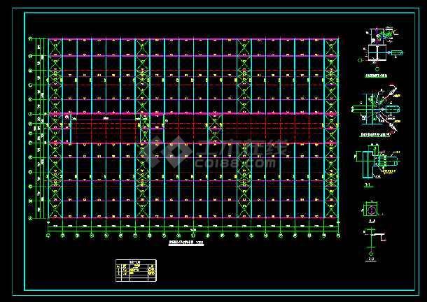 某39米跨门式厂房结构cad设计图
