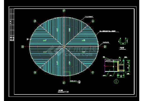 圆形钢结构厂房结构cad施工设计图