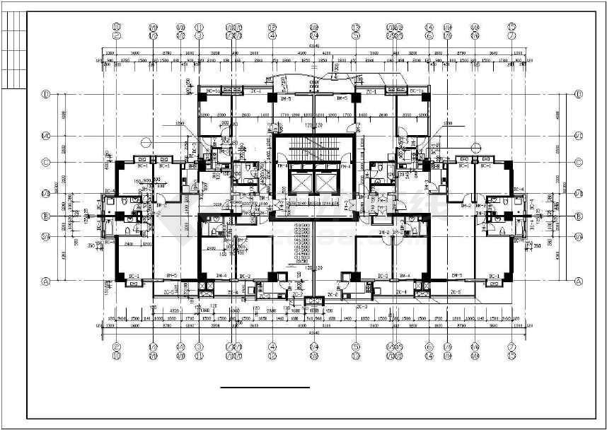 某地高层商住楼建筑施工图(标注详细)