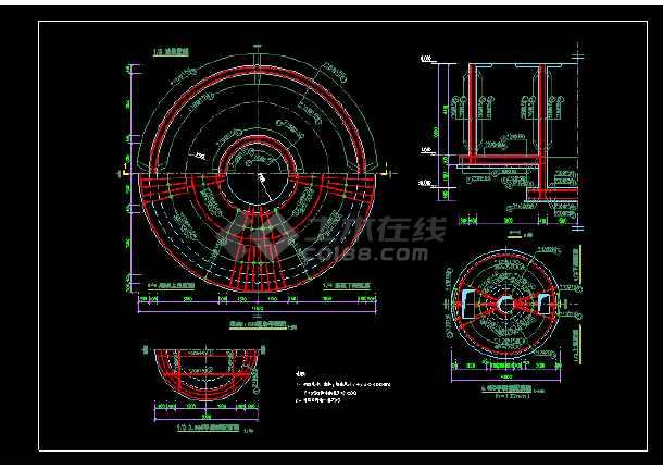 经典常用建筑圆形水池结构cad施工图
