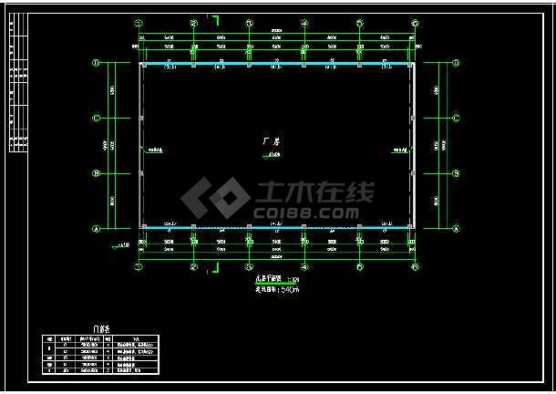 18米跨门式刚架厂房结构cad设计图