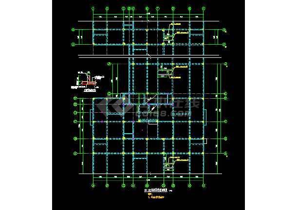 某工程加层改造结构cad施工设计图 -图1