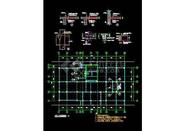 某工程加层改造结构cad施工设计图 -图2