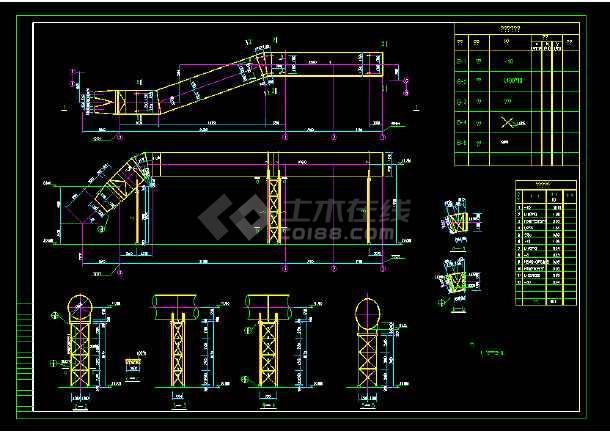某钢结构支架结构cad施工设计图