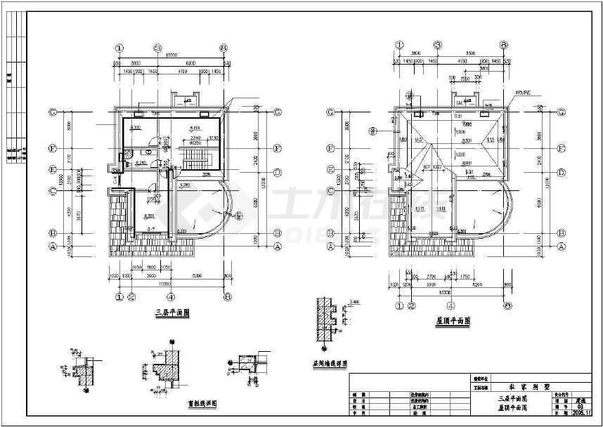 某地小型简单私家别墅建筑施工图(标注详细)
