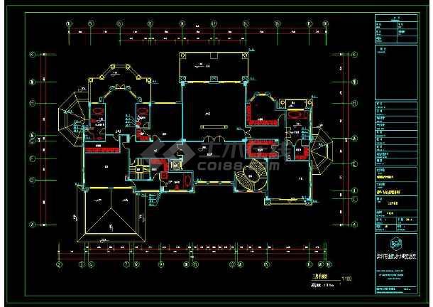 某地三层精品别墅建筑给排水设计cad施工图-图3