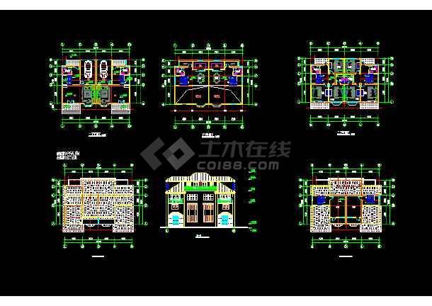 10套别墅建筑cad图纸(双拼别墅、三层别墅、双联别墅)-图2