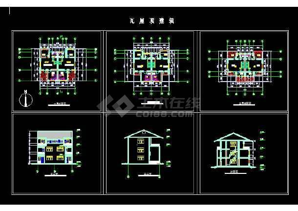 10套别墅建筑cad图纸(双拼别墅、三层别墅、双联别墅)-图3