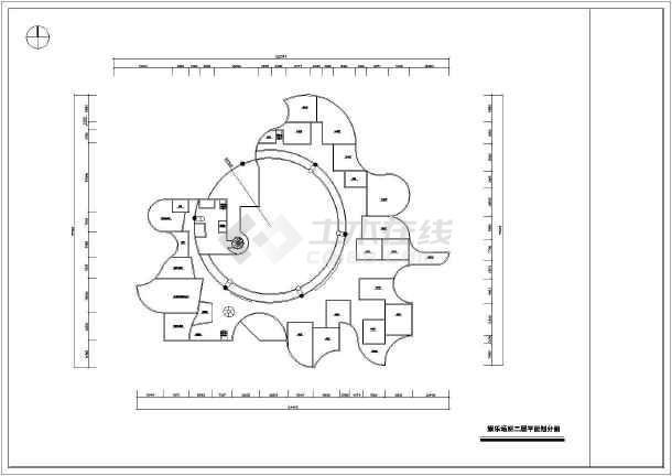 某娱乐场所平立剖cad室内设计装修图-图1