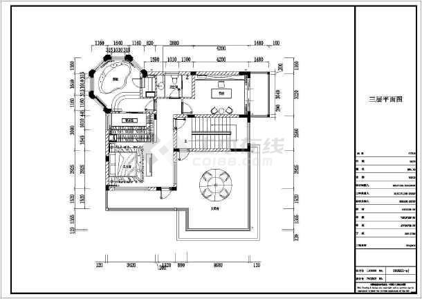 某三层独幢别墅建筑cad平面设计施工图