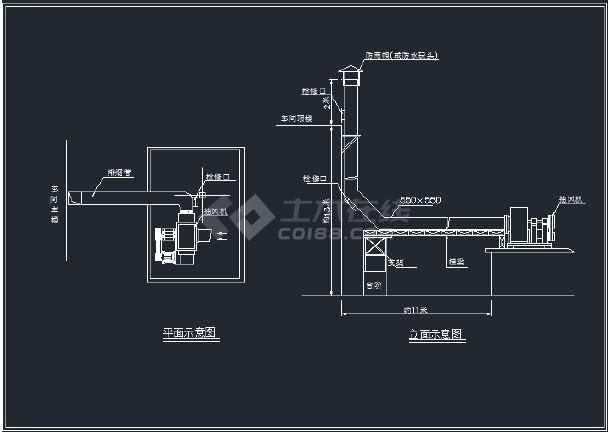 某柴油溶铝炉废气处理工程设备安装图-图1