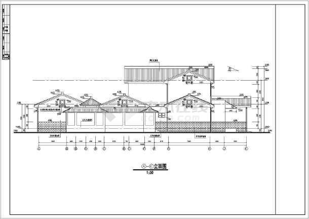 中国某市古典别墅施工图建设CAD图纸-图2