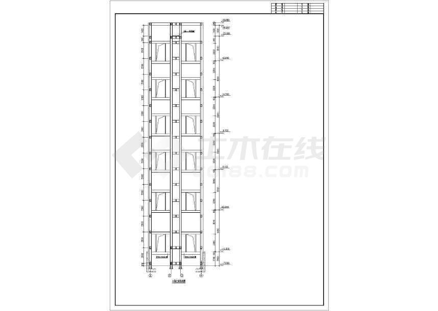 某钢结构观光电梯井结构设计图-图2