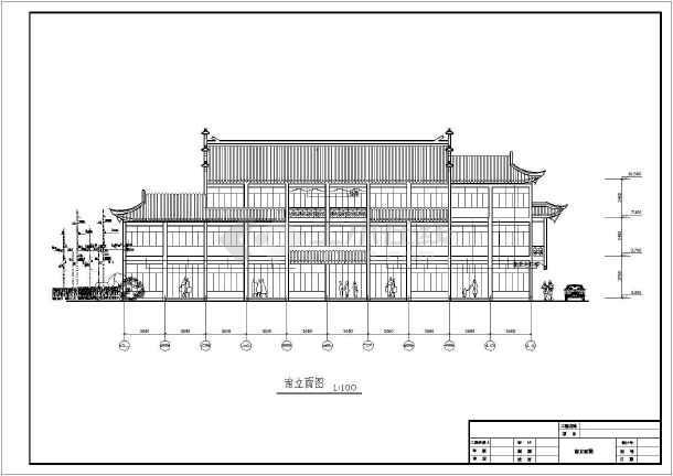某地仿古代风格别墅建筑设计cad图-图2