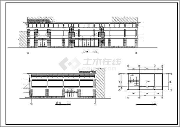 某小型超市全套建筑设计施工CAD图-图1