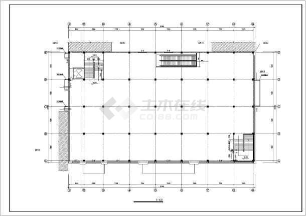 某小型超市全套建筑设计施工CAD图-图2