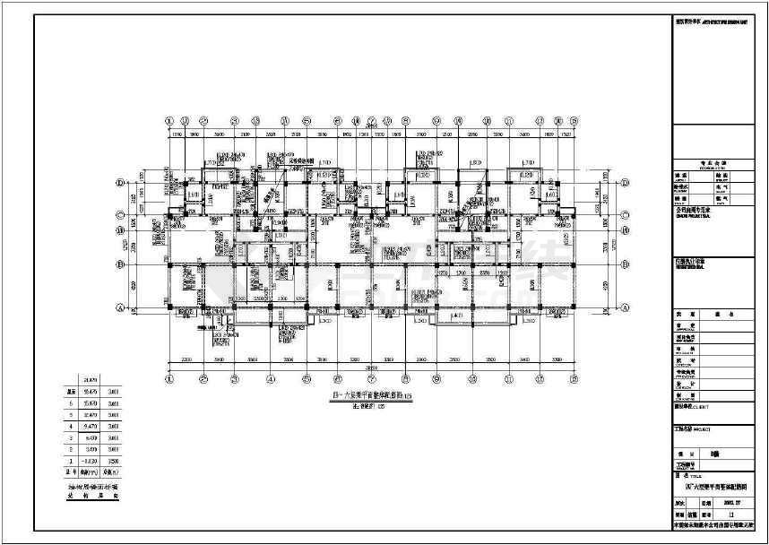 某地六层住宅框架结构设计图(含设计说明)-图2