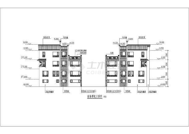 三层中式风格四合院别墅全套建筑cad施工图-图2