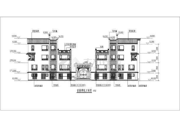 三层中式风格四合院别墅全套建筑cad施工图-图3
