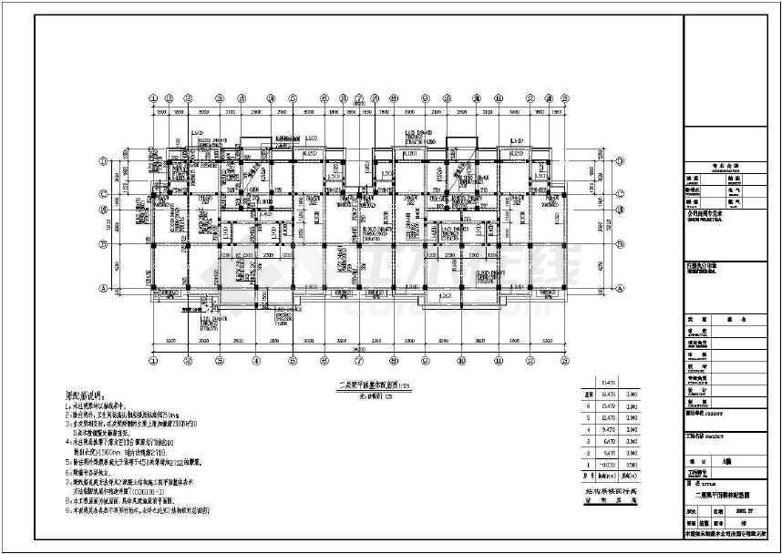 某地六层框架结构住宅楼结构施工图(标注详细)-图2