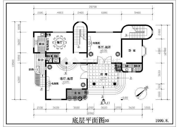 某地区多层住宅建筑设计图(共4张)-图2