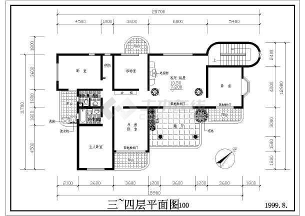 某地区多层住宅建筑设计图(共4张)-图3
