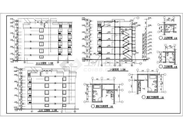 某多层住宅建筑全套施工cad设计图-图2