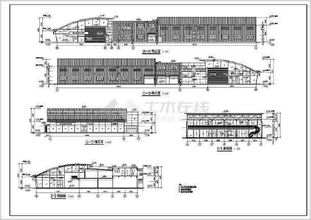 某地奥迪4S店建筑设计图-图2