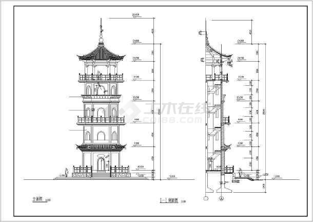 某地5层仿古代景观塔结构设计cad施工图-图3