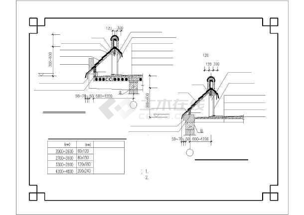 某地仿古代围墙(马头墙)披檐建筑设计cad施工图-图1